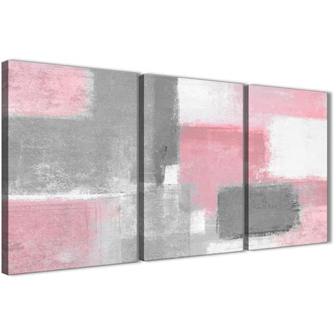 3 blush pink grey painting office canvas wall decor abstract 3378 126cm set of prints