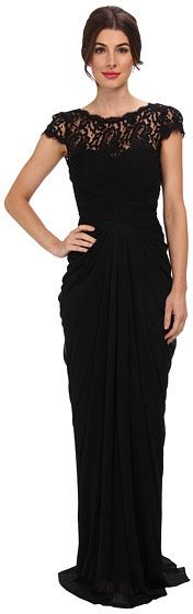 Papell Lace Bodice On Draped Skirt - black lace evening dress papell lace bodice on
