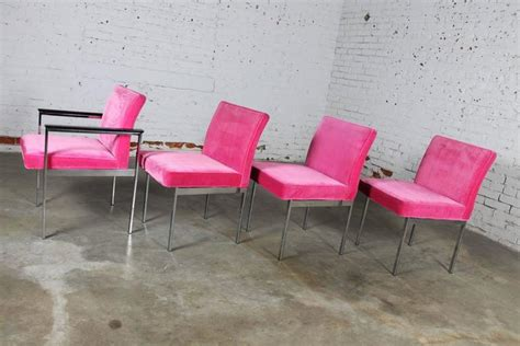 hot pink  chrome dining chairs american  martinsville