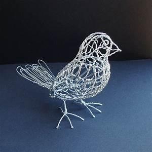Reserved for RR - Finch Wire Bird Sculpture Grosbeak ...