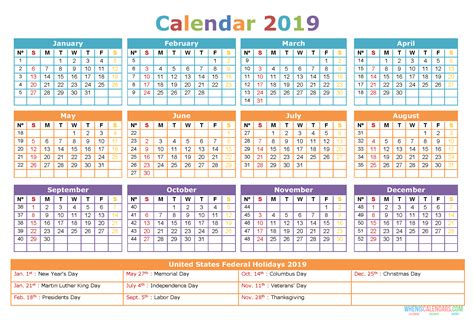 calendar  holidays printable word