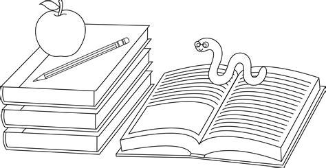 colorable school books  bookworm  clip art