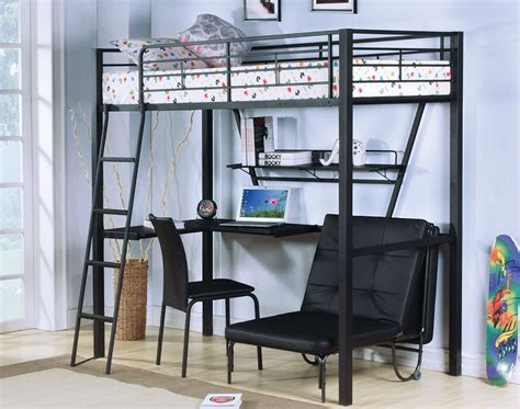 Metal Bunk Bed With Desk by Black Metal Loft Bed With Desks And Futon