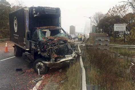Sagamore, Ma  Truck Spills Cranberries In Accident On