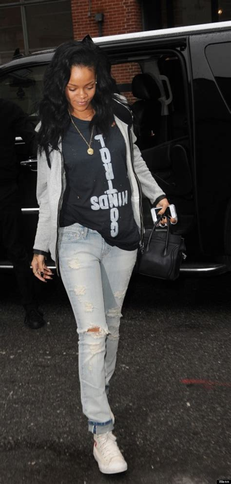 Rihanna Dresses Down In Ripped Jeans And A Hoodie