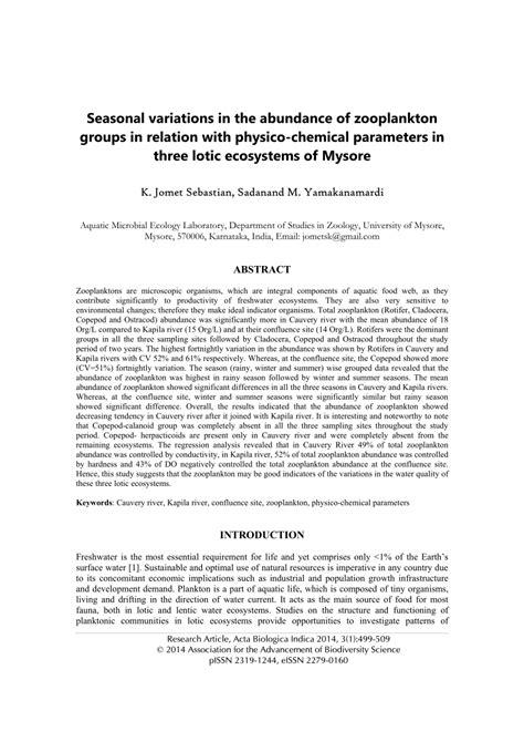 lotic physico seasonal abundance zooplankton parameters mysore ecosystems variations relation chemical groups three