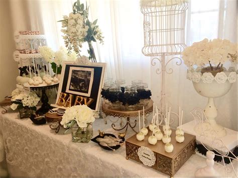 shabby chic baby boy shower ideas black and white shabby chic baby shower dessert table baby shower ideas themes games