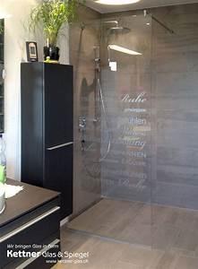 Dusche Folie Glas : duschtrennwand in extraweissem glas mit individueller beschriftung einrichtung in 2019 ~ Frokenaadalensverden.com Haus und Dekorationen