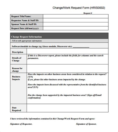 sample change request template   documents