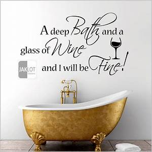 Deep bath and a glass of wine bathroom vinyl wall art for Wall art stickers for bathrooms