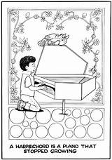 Harpsichord Coloring Pages Template Turner Music Morrie Instrument Bay Area Class Colouring sketch template
