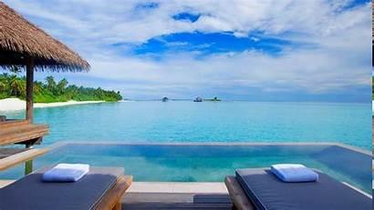 Resort Sea Pool Maldives Tropical Desktop Swimming