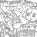 Coloring Birthday Pages Dora Boots Printable Explorer Cake Happy Candle Colouring Sheets Blowing Monkey 2nd Netart Coloriage Crayons Animationsa2z Candles sketch template