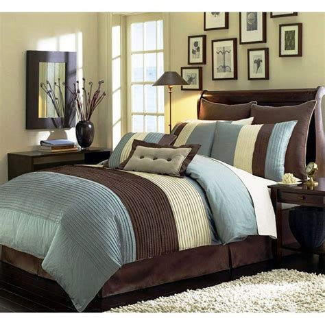 beige blue teal and brown luxury stripe 8 king size comforter set ebay - Comforter Sets Blue And Brown