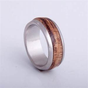 mens wood wedding band with titanium ring woman man ring With mens wood wedding ring
