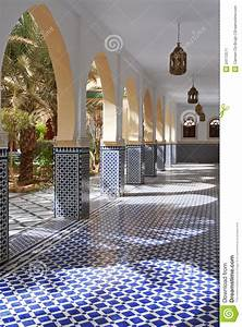 Courtyard With Arches And Tiles In Moroccan Style Stock