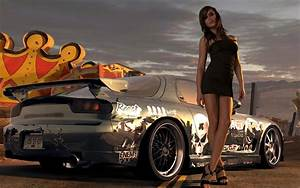 Black dress Girl With sports car wallpaper | Car Wallpapers