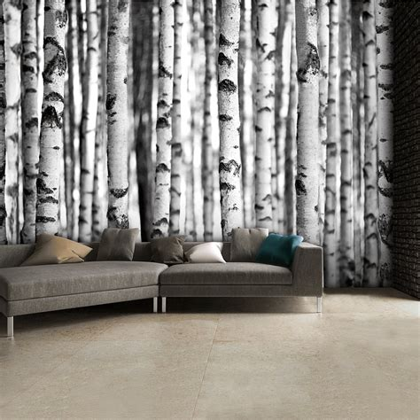 1wall tree wallpaper mural black and white birch trees wall mural 315cm x 232cm