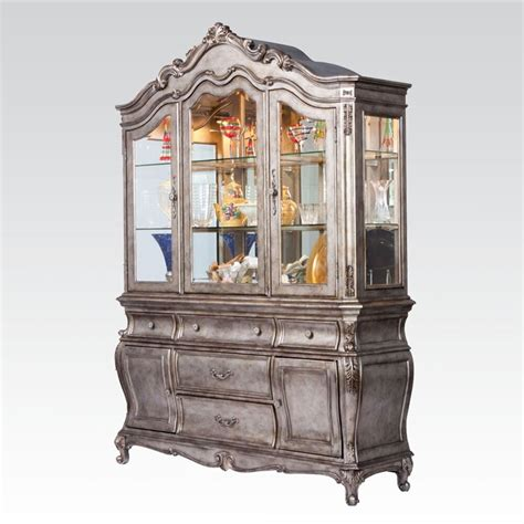 China Cabinet And Hutch by Chantelle China Hutch Buffet Antique Platinum Finish