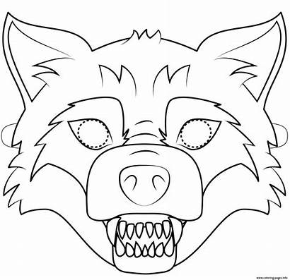 Wolf Mask Coloring Halloween Printable Bad Pages