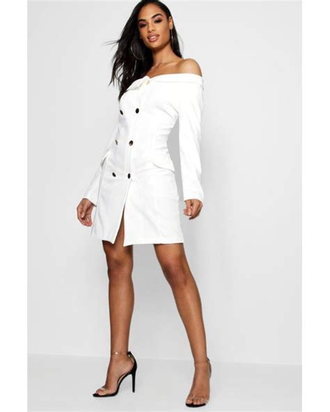 Lyst - Boohoo Maisie Double Breasted Off The Shoulder Blazer Dress in White