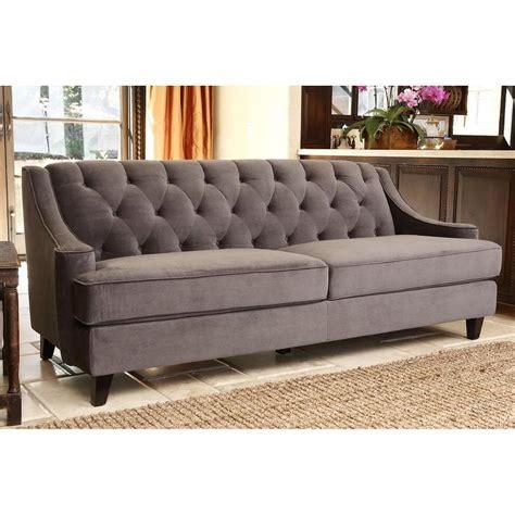 gray velvet sectional sofa abbyson living claridge dark grey velvet fabric tufted sofa