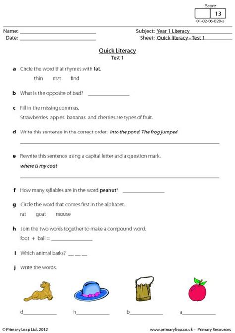 quick literacy test 1 primaryleap co uk