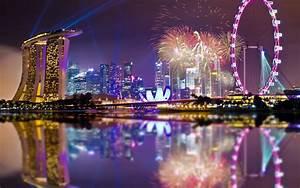 Singapore, Architecture, Fireworks, Lights, Night