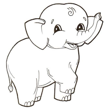 Cute Baby Elephant coloring page from Elephants category