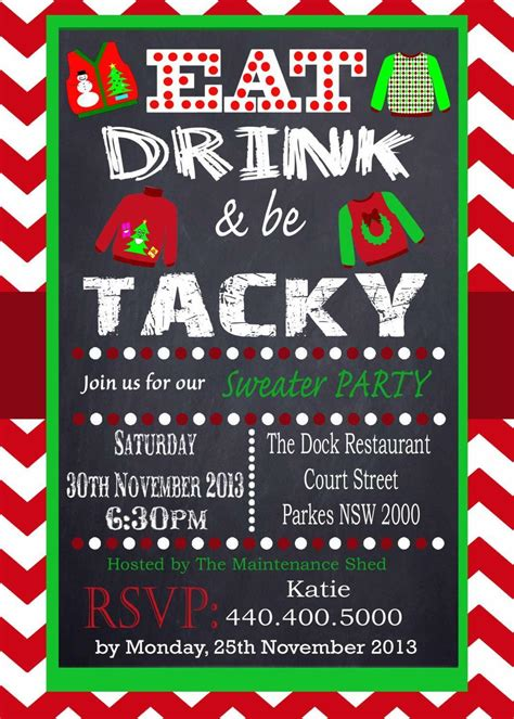ugly sweater invitation template  ugly christmas