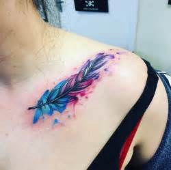watercolor feather tattoos ideas  pinterest