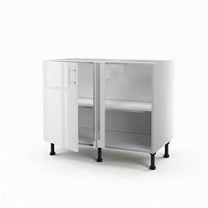 Meuble de cuisine bas d39angle blanc 1 porte rio h70 x l for Deco cuisine pour meuble tv angle