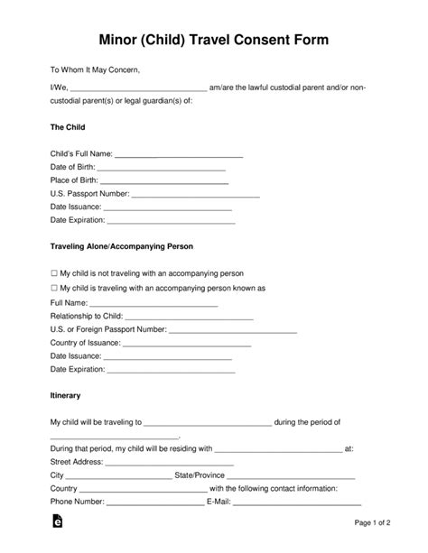 free child travel consent form template free minor child travel consent form word pdf eforms free fillable forms