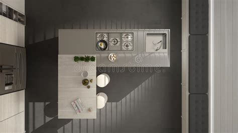kitchen cabinets top view modern kitchen with wooden details top view on island and