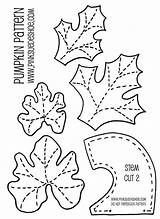 Patterns Pumpkin Leaf Applique Pattern Template Leaves Coloring Stem Felt Fall Templates Stems Halloween Printable Traceable Fabric Sewing Pumpkins Material sketch template
