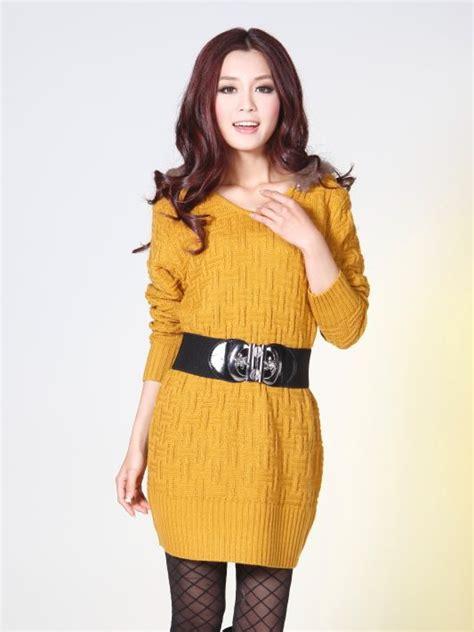 Korean Fashion Pure Color Fur Hood Slim Sweater Dress