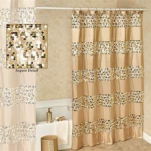 Prestigue champagne gold sequined shower curtain for Sequin bathroom sets