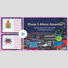 * New * Phase 5 Phonics Aliens Assemble Powerpoint Phonics