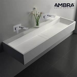 Baignoire à Poser : vasque double rectangulaire 120 cm en solid surface ~ Melissatoandfro.com Idées de Décoration