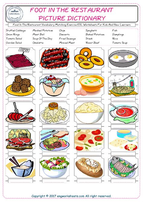 food   restaurant esl printable english vocabulary