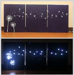 Ways to design three panel light up dandelion wall art