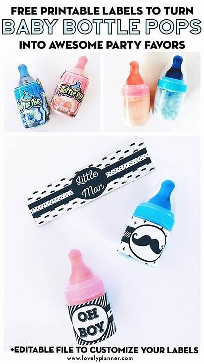 Bottle Printable Party Favors Labels Diy Mustache