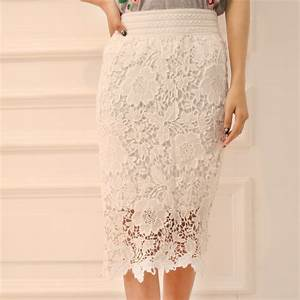 Straight-Mid-calf-Flower-White-Lace-Skirts-For-Women ...