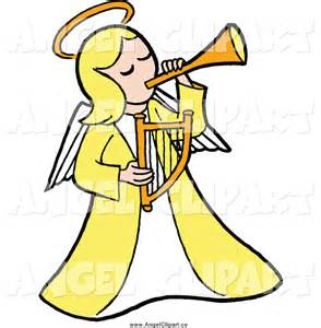 Angel with Horn Clip Art