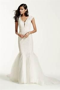 Galina signature illusion deep plunge neckline lace for Plunge wedding dress