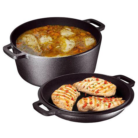 iron cast cookware sets lid dutch oven thez7 heavy seasoned