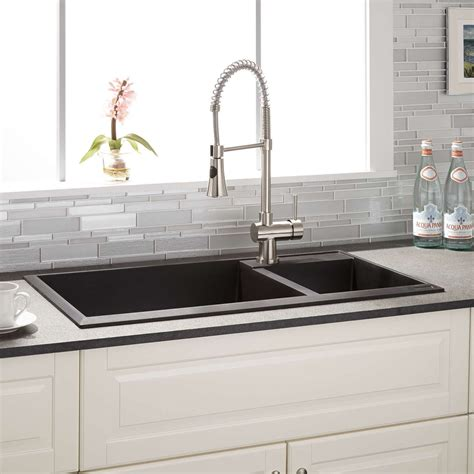 Composite Kitchen Sinks by 34 Quot Arvel 70 30 Offset Bowl Drop In Granite