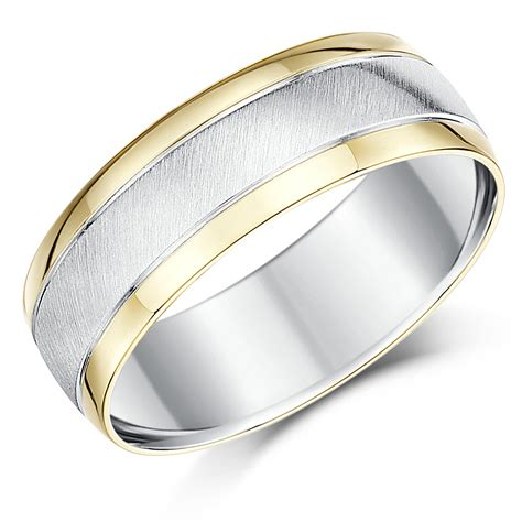 7mm silver and 9ct yellow gold two tone wedding ring band silver 9ct gold two tone at elma