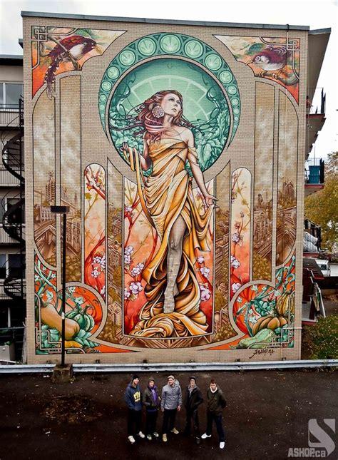 graffiti mural artists nouveau inspired mural in montreal pinewood