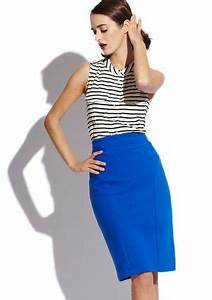 fice wear bright blue pencil skirt with a striped